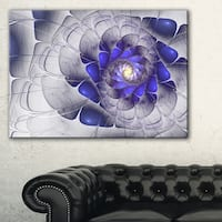 Fractal Flower Grey Blue Digital Art - Large Floral Canvas Art Print