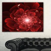 Fractal Flower Clear Red Digital Art - Large Floral Canvas Art Print