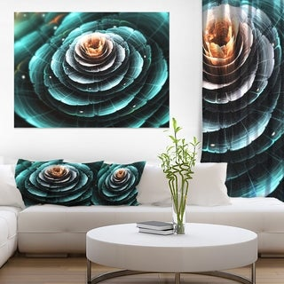 Flower Clear Turquoise Digital Art - Large Floral Canvas Art Print