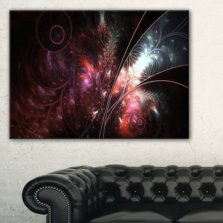 Dark Alien Digital Art Fractal Flower - Large Floral Canvas Art Print