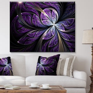 Glittering Purple Fractal Flower   Large Floral Canvas Art Print