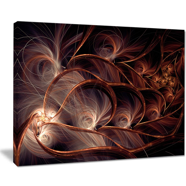Glittering Brown Fractal Flower On Black Large Floral Canvas Art Print Overstock 12209801