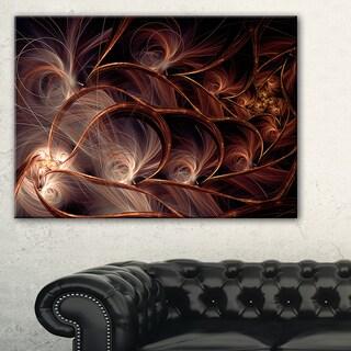 Glittering Brown Fractal Flower on Black - Large Floral Canvas Art Print
