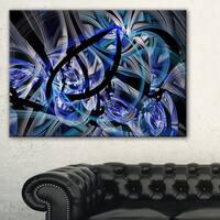 Symmetrical Spiral Blue Flower - Large Floral Canvas Art Print - Black