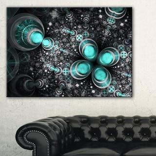 Glittering Dark Green Fractal Flower - Large Floral Canvas Art Print