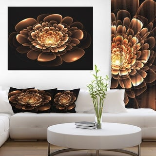 Glittering Brown Yellow Fractal Flower - Large Floral Canvas Art Print