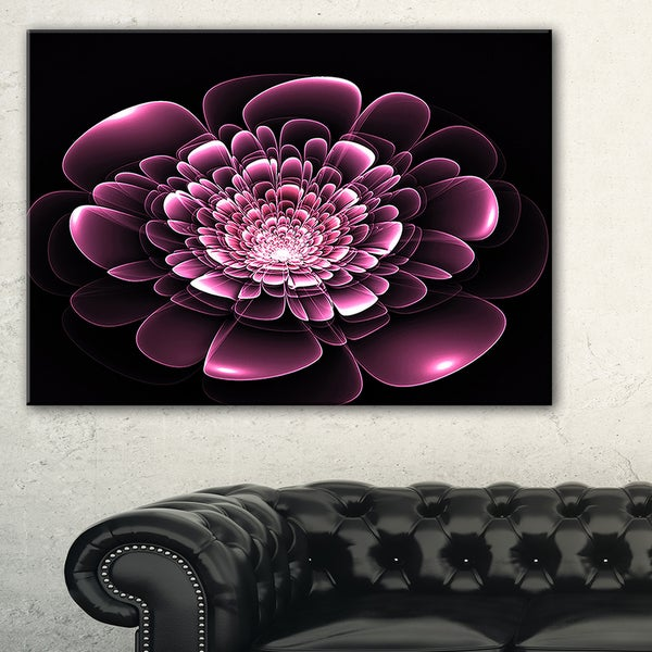 Purple Glossy Typical Fractal Flower - Large Floral Canvas Art Print