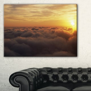 Yellow Sunrise above Clouds - Extra Large Wall Art Landscape