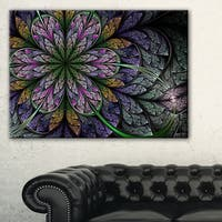 Purple and Blue Large Fractal Flower Pattern - Modern Floral Canvas Wall Art