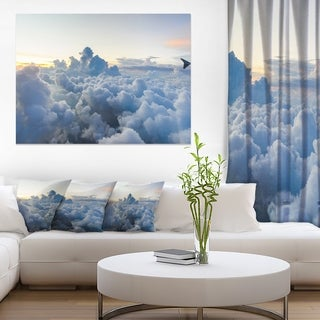 Light Blue Heavy Clouds in Sky - Contemporary Landscape Canvas Art