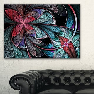 Turquoise and Red Fractal Flower Pattern - Modern Floral Canvas Wall Art