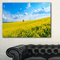 Lone Tree in Blooming Cozla Park - Contemporary Landscape Canvas Art - Blue