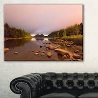 Jordan Pond in Acadia Park - Contemporary Landscape Canvas Art - Blue
