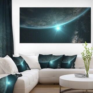Sunrise in Earth from Space - Contemporary Landscape Canvas Art - Multi-color