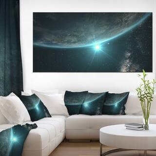 Sunrise in Earth from Space - Contemporary Landscape Canvas Art - Multi-color