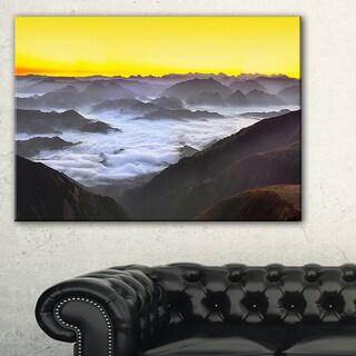 Foggy Sunrise Over Mountains - Landscape Wall Art Canvas Print