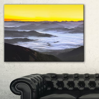 Yellow Sky and Foggy Mountains - Landscape Wall Art Canvas Print