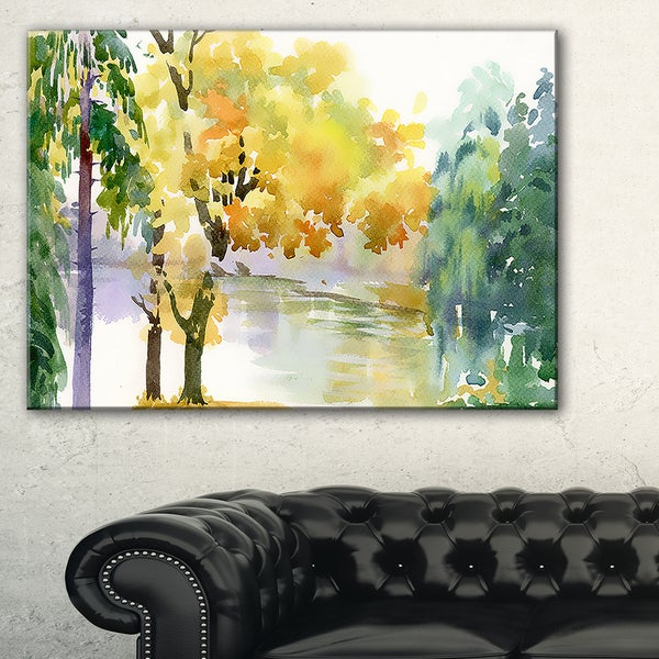 Beautiful Autumn Forest Watercolor - Landscape Wall Art Canvas Print ...
