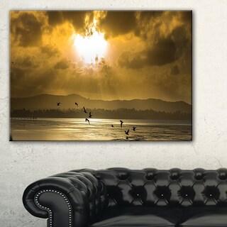 Glittering Sun Among heavy Clouds - Large Seashore Canvas Print