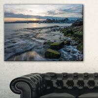 White Waves Hitting Rocky Seashore - Large Seashore Canvas Print