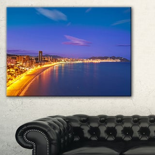 Benidorm Poniente Beach Sunset - Seashore Canvas Wall Artwork