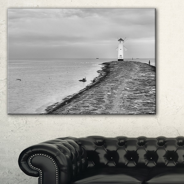 Lighthouse Windmill Stawa Mlyny in Grey - Seashore Canvas Wall Artwork