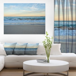 Blue Splashing Scene Beach - Large Seashore Canvas Print