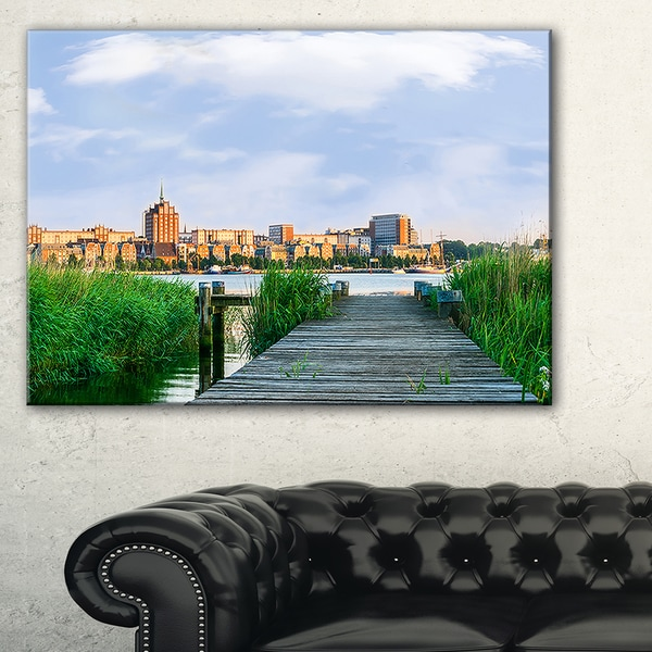 Wooden Bridge to River Warnow - Landscape Art Print Canvas