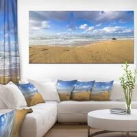 Sea Beach on Cloudy Winter Day - Large Seashore Canvas Print