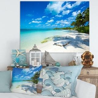 Tropical Beach with Palm Shadows - Large Seashore Canvas Print