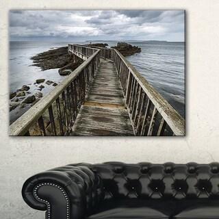 Wooden Pier on North Irish Coastline - Sea Bridge Canvas Wall Artwork