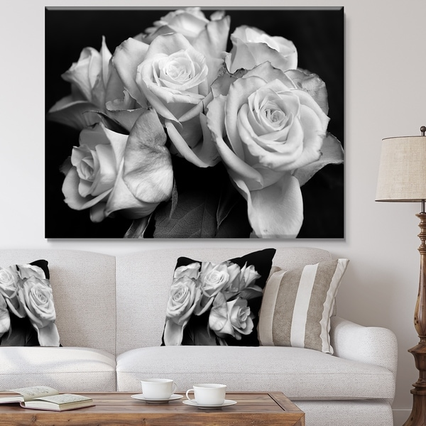 Bunch Of Roses Black And White Fl Canvas Art Print