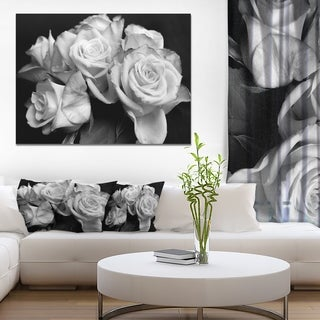 Bunch of Roses Black and White - Floral Canvas Art Print