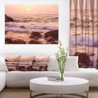 Foam Waves Hitting Rocky Coast - Large Seashore Canvas Print