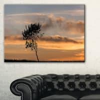 Lonely Tree Silhouette Leftwards - Landscape Art Print Canvas - Multi-color