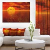 Sun Falling to Yellow Ocean - Large Seashore Canvas Print