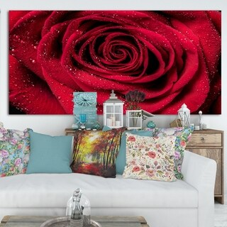Red Rose Petals with Rain Droplets - Floral Canvas Art Print