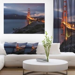 Golden Gate with Night Illumination - Sea Bridge Canvas Wall Artwork
