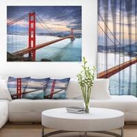 Golden Gate under Cloudy Sky - Sea Bridge Canvas Wall Artwork