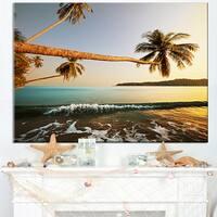 Andaman Sea Large Coconut Palms - Large Seashore Canvas Print
