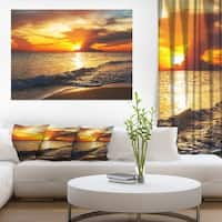 Colorful Dramatic Sunset over Waves - Modern Beach Canvas Art Print