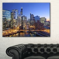 Chicago River with Bridges at Sunset - Cityscape Canvas print - Multi-color