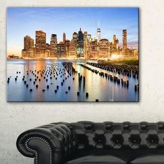 Illuminated New York Skyscrapers - Cityscape Canvas print