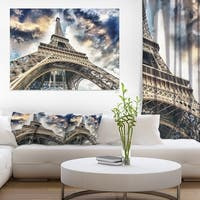 The Paris Eiffel Tower View from Ground - Cityscape Canvas print - Blue