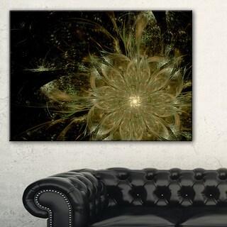 Light Brown Symmetrical Fractal Flower - Modern Floral Canvas Wall Art