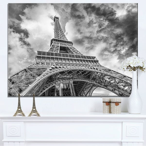 Black and White View of Paris Eiffel Tower - Cityscape Canvas print - Blue