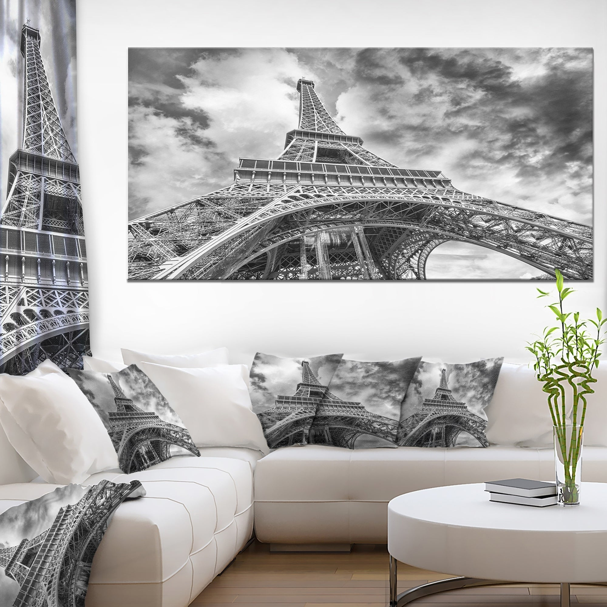 Shop Black And White View Of Paris Eiffel Tower Cityscape Canvas Print Blue Overstock 12210632