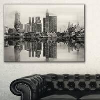 Singapore Skyline View Panorama - Cityscape Artwork Canvas - Black