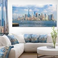 Lower Manhattan Skyline Panorama - Cityscape Artwork Canvas - Multi-color
