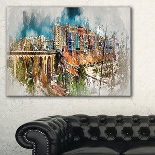 Villajoyosa Town Digital Art Panorama - Cityscape Artwork Canvas - Red